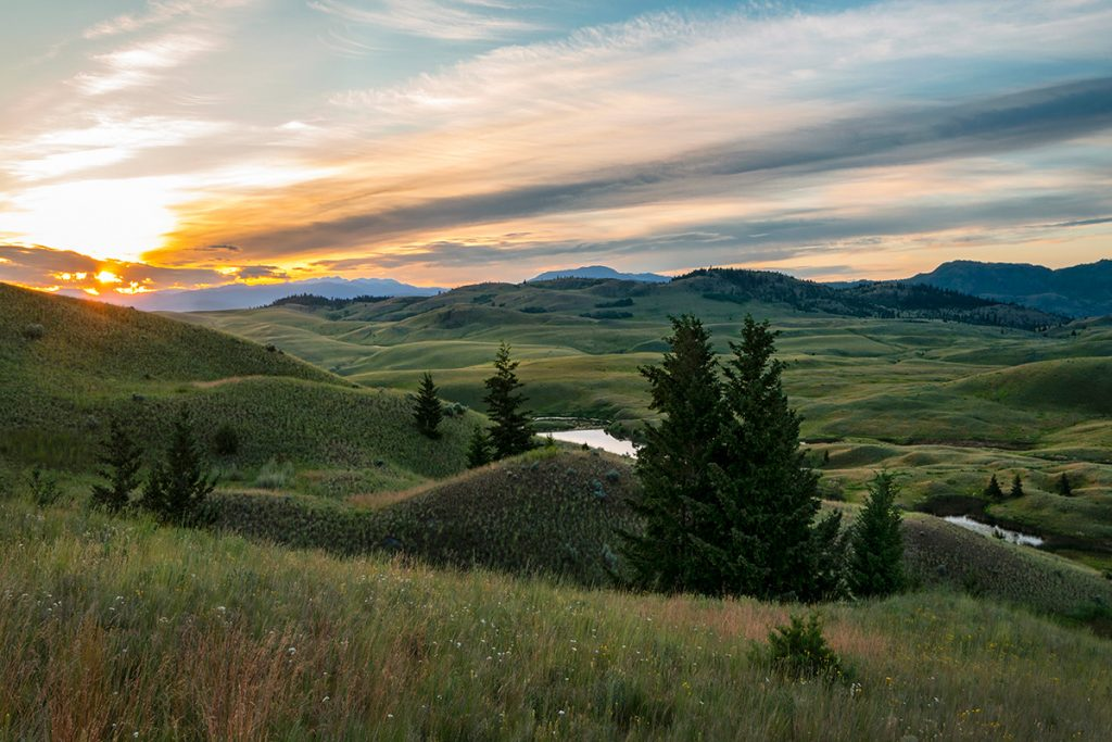 The Lac Du Bois grasslands during a beautiful sunrise just north of Kamloops, British Columbia, Canada
