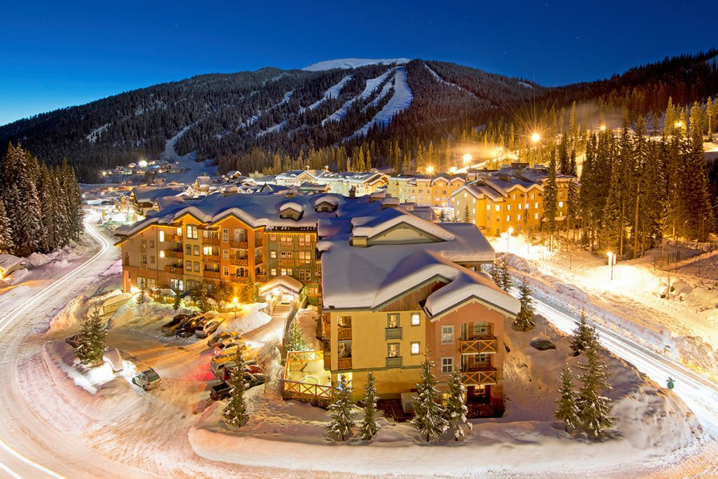 Stunning evening at Sun Peaks Village at dusk, Thompson Okanagan region of BC, Canada