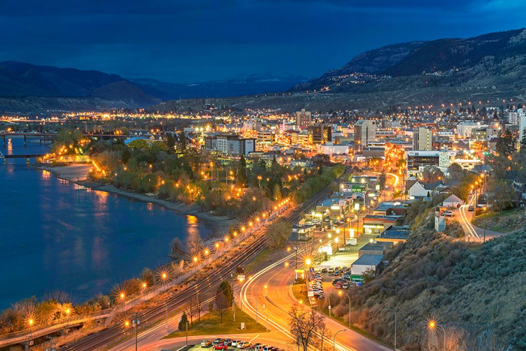 The city center of Kamloops, BC at dusk, British Columbia, Thompson Okanagan region, Canada