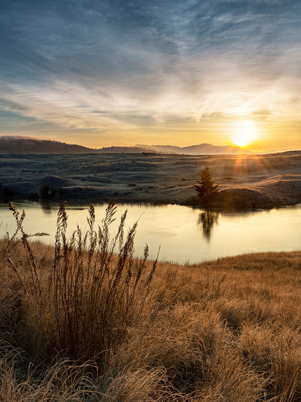Landscape of a sunrise at Lac Du Bois Grasslands, north of Kamloops, British Columbia, Thompson Okanagan region, Canada