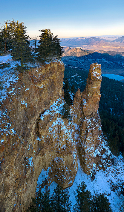 Drone or aerial of a landscape feature called The Pinnacle, east of Kamloops, BC
