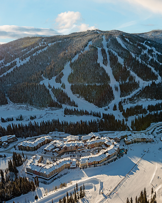 Drone perspective at Sun Peaks Resort, BC Canada