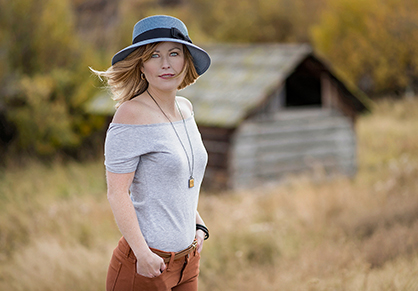 A beautiful young woman during a fall day near Kamloops, BC, Canada