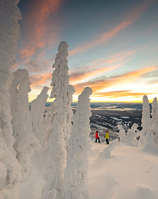 Skiers and snow ghosts during a stunning sun rise at Sun Peaks, BC, Canada
