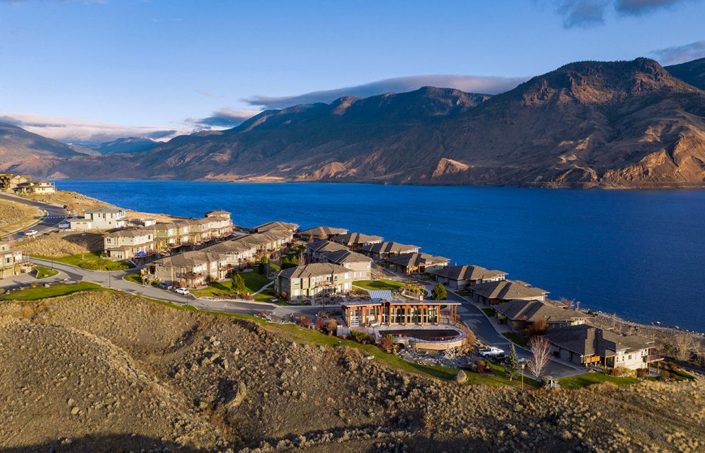Aerial image using a drone to capture a residential development at Tobiano, BC