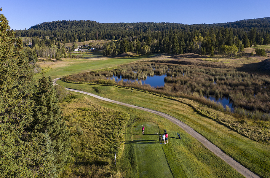 Aerial golf logan lake