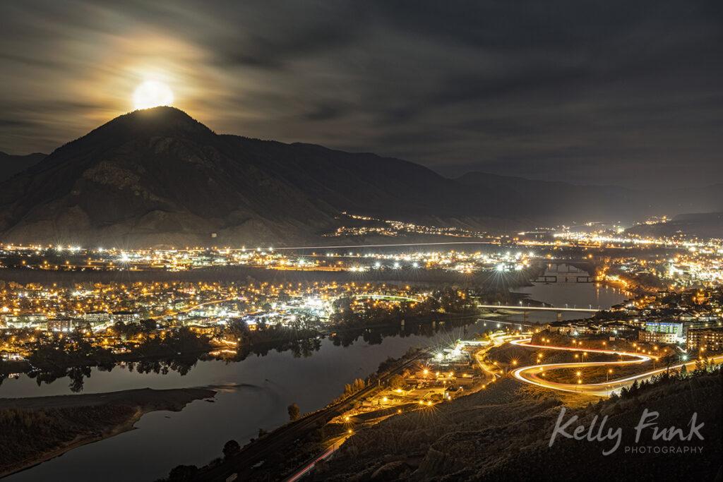 Moonrise over Kamloops